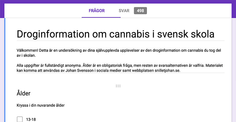 """Resultatet av undersökningen """"Droginformationen om cannabis i svensk skola"""""""