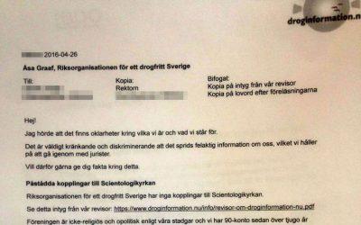Hotfulla brev från Åsa Graaf, Riksorganisationen för ett Drogfritt Sverige