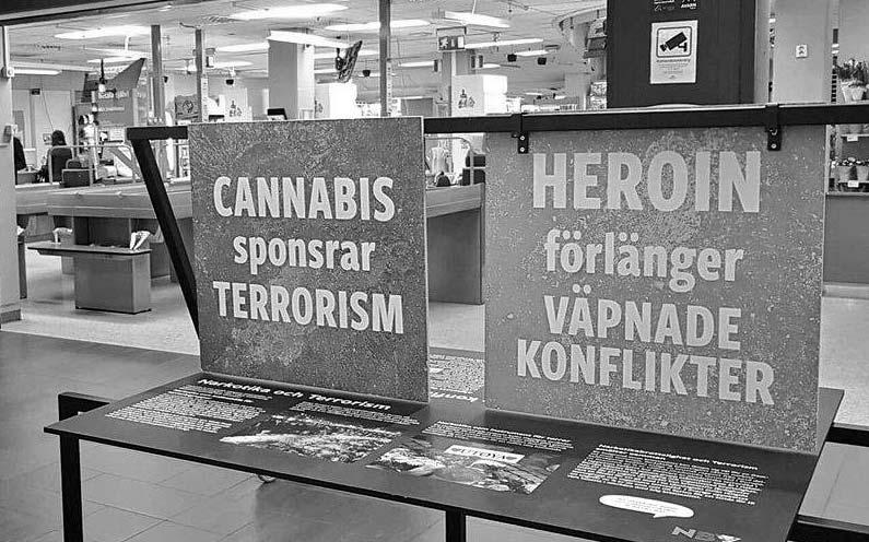 """Finns det några belägg kring utställningen """"narkotika – klimat, krig och mänskliga rättigheter""""?"""